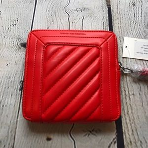 French Connection Red Wristlet Clutch Fire Coral